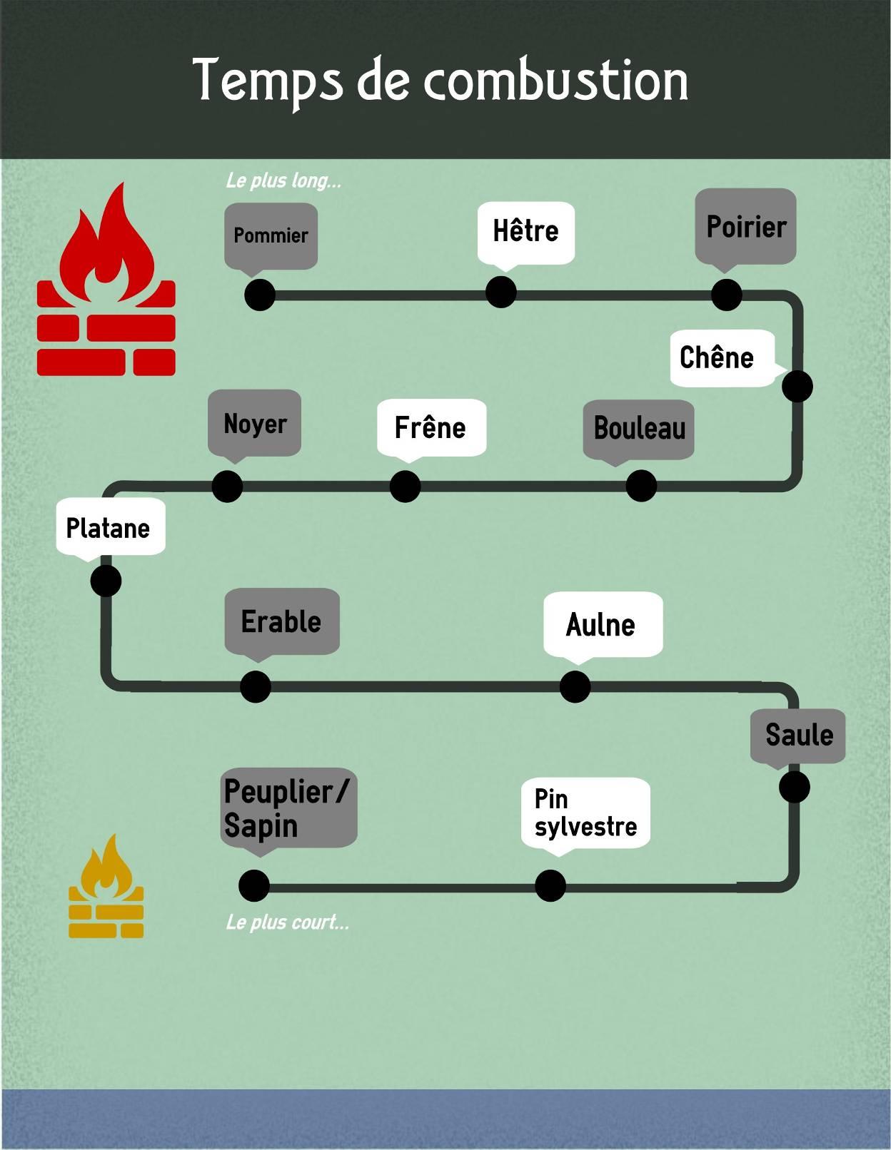 temps de combustion du bois